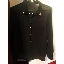 Camisa Negra Transparente Con Tachas De Rimmel