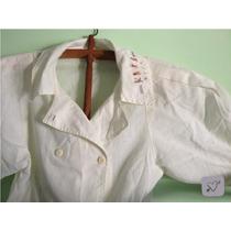 Camisa Vintage Bordada, Con Botones Cruzada Tipo Chaqueta