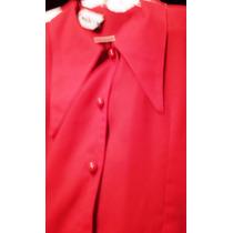 Camisa Roja Crepe Elegant Large Fiesta Coctel Bordada Unica