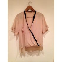 Increíble Blusa Zara Crepe Detalles En Seda