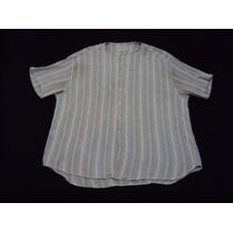 Camisa Tascani Mangas Cortas Cuello Mao Talle Xl