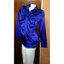 Camisa Tipo Saten Elastizado Violeta Preciosa