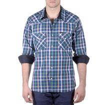 Camisa Lee Michael Western Hombre Azul (10432518503701)