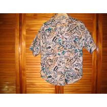 Blusa Camisa Color Piel Con Arabescos Negros Azul M Corta