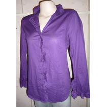 Hermosa Camisa Volados Puños Y Cuello Importada Ts Violeta