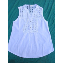 Camisa Blusa Sin Mangas Mujer Blanca Nueva Talle Xl