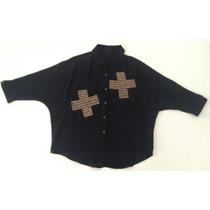 Camisa De Gasa Color Negro Con Detalles De Tachas
