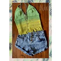 Top Crochet Largo Remera Flecos