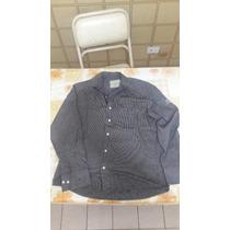 Narrow Camisa Negra Con Rayas Verticales Grises Original