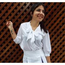 Camisa Mujer Con Moño, Ligh Series,diseño Exclusivo Villalba