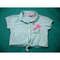 Camisa Nena Cuadrille Importada Talle6 Flores Bordadas