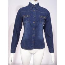 Camisa De Jeans Para Mujer Con Tachas Entallada