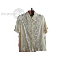 Camisa De Gasa De Seda Natural Y Encaje De Nylon