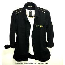 Camisa Campera Negra Gabardina Con Tachas