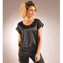 Blusa Remera De Satén Color Negro Blanco O Natural Giacca