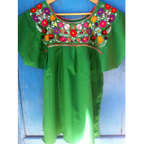 Blusa Bordada Mexicana Verde