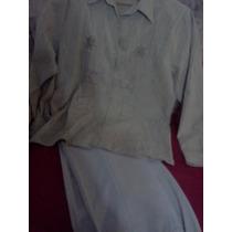 Conjunto 1\2 Estacioncamisa Bordada Y Pantalon Vestir A Tono
