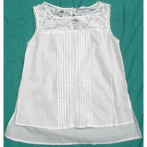 Blusa Camisa Musculosa Blanca Mujer Con Encaje Talle M