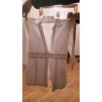 Blusa Color Blanco Manga 3/4 Entallada En La Cintura