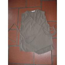 Blusa Cruzada Con Lazo, Color Verde Topo , Sabrina Talle S