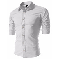 Camisas Entalladas Todos Los Talles Slim Fit Lisas !!