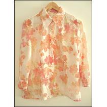 Camisa Blusa Floreada Organza Transparencia Dama Mujer