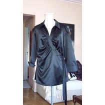 Hermosa Camisa De Seda Con Cuello Mgas Lgas Negra