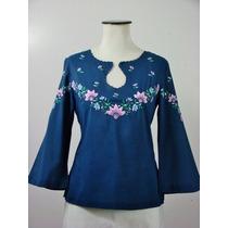 Divina Blusa Estilo Oriental-azul Con Flores Bordadas A Mano