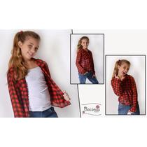 Camisa De Gasa Cuadrille Manga Larga- Preadolescentes- Niñas