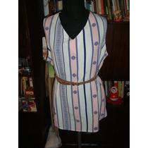 Retro Vintage Blusa De Seda Talle L Modelo Miami