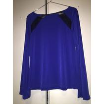 Blusa Mujer Con Detalles En Encaje Azul Y Negra