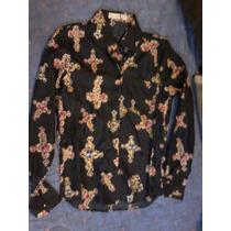 Camisa Seda Negra Con Estampa Cruces