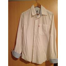 Camisa Blanca Levis Con Puños Celestes Talle Medium