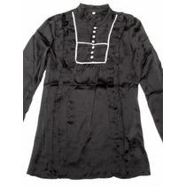 Bella Blusa Camisa Negra De Raso Manga Larga Nueva Talle S