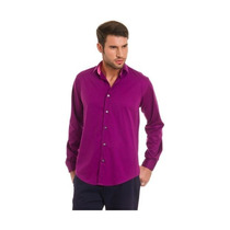 Camisa Hombre Vestir Slim Fit Roland Cotton %50 Off Violeta