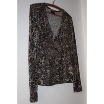 Apology London Blusa Manga Larga Talle M Remera Animal Print