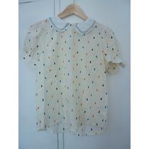 Camisa Blusa Cuello Bebe Bordado! Muy Delicada Y Femenina