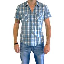 Camisa Hombre Rever Pass Manga Corta Cuadros Gd Chicago E6s