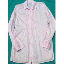 Camisa Blusa Camisola Vestir Rosa Larga Mujer Nueva Talle S