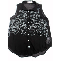 Camisa Camisola En Gasa Negra Con Tachitas Nueva Talle M