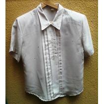 Camisa Tipo Seda, Color Crudo. Talle M. Bordada.