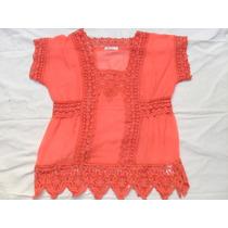Blusa Camisa Coral De Gasa Con Pasamanería Nueva Talle S