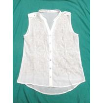 Camisa Camisola Gasa Blanca Bordada Sin Mangas Nueva Talle L