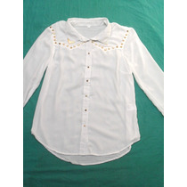Camisa Blanca Manga Larga Con Puas Mujer Nueva Talle M