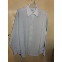 Camisa Vestir M/l Yves Saint Laurent Blanca C/rayas T.42 L47
