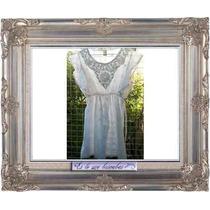 Vestido O Camisola De Broderi Y Guipiur Blanca Talle Amplio!