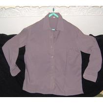 Camisa O Blusa Color Gris Lavanda Vestir Talle 50 Polyester