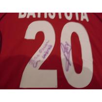 Camiseta De La Roma De Batistuta Autografiada.nueva