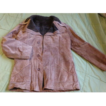 Sacon De Cuero Campera Con Abrigo Medium Large. Impecable