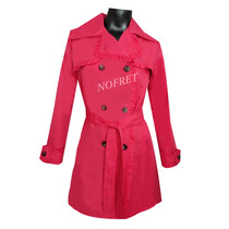 Piloto Impermeable Trench Rosa Con Volados Talle 2 (m)